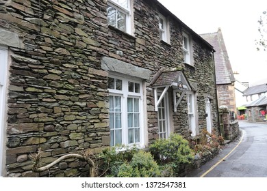 Grasmere, Cumbria, England: December 2018 - Buildings in the village of Grasmere in the Lake District, England
