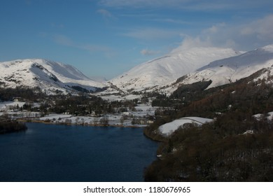 Grasmere and Dunmail Raise, English Lake District. Taken with full snow cover, late afternoon