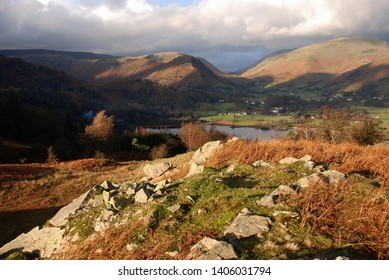 Grasmere. Helm crag from loughrigg fell,autumn landscape in Lake District, Cumbria