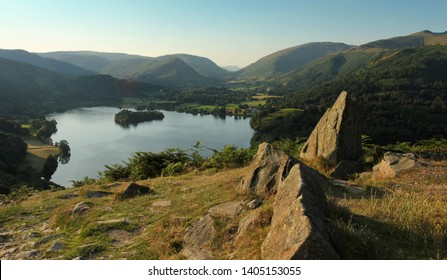 Grasmere, summer evening, Helm crag and loughrigg fell, Lake District, Cumbria