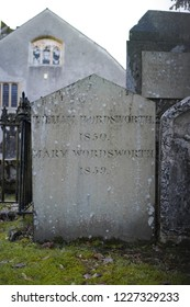 GRASMERE, UK - DECEMBER 7, 2014 : William Wordsworth's Grave at Gasmere Parish Church