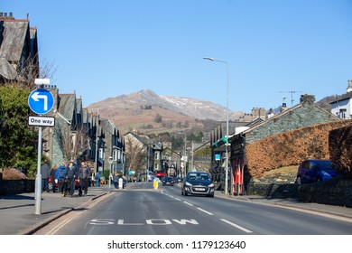 Grasmere/England - February 25th 2018: Grasmere roads