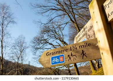 Grasmere/England - February 25th 2018: Grasmere walking sign post