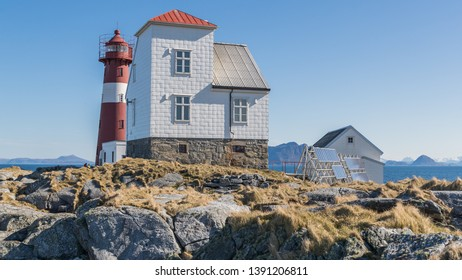 Grasoyane Lighthouse with aalesund from behind at Ulsteinvik, Norway 15 april 2019