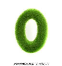 """Grass """"0"""" number, isolated on white background."""