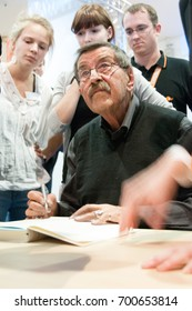 Günter Grass (1927-2015), german author (Tin Drum), recipient of the 1999 Nobel Prize in Literature, signing books at the Frankfurt Bookfair / Buchmesse Frankfurt 2010 in Frankfurt am Main, Germany
