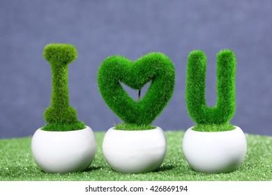 Grass Alphabet on the pot