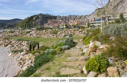 Grass area at the seaside resort of Portopiccolo, near Trieste, Italy