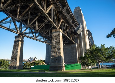 Grass around the pillars on the Sydney Harbour Bridge