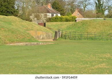 Grass banks at a fortress which formed part of the London defences in the 19th century.