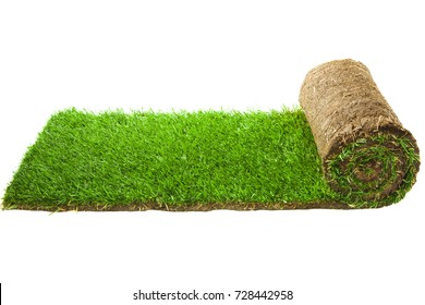 Grass Carpet Roll Isolated on White Background. The stacking of roll green lawn grass