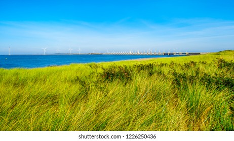 The grass covered dunes along the Oosterschelde waterway in the province of Zeeland in the Netherlands