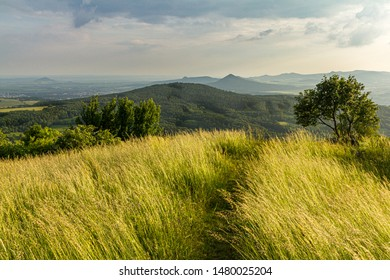Grass covered hill and path leading away towards hills in the background. Pure and clean nature, very precious.