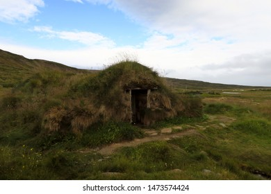 Grass covered hut at The Sorcerer's Cottage in West Fjords, Iceland