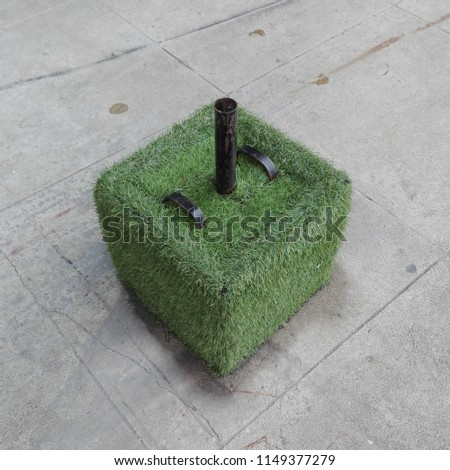 Grass Cube Umbrella Base Stand Weight Stock Photo Edit Now