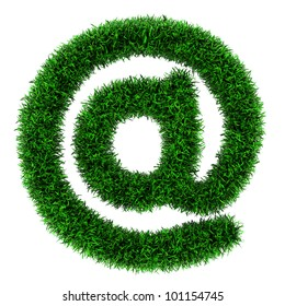 Grass Email symbol, made of grass isolated on white background.