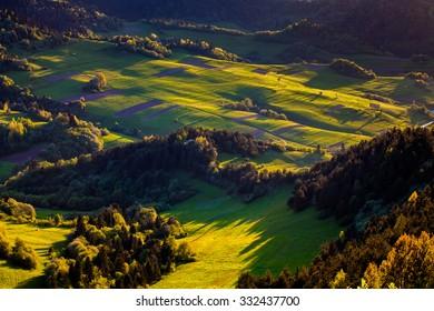 Grass fields, Pieniny, Slovakia