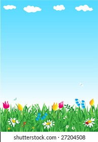 Grass and flowers spring vertical background ( for vector EPS see image 27204505 )