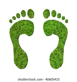 Grass footprints on a white background, relating to the environment. View close up for high detail.