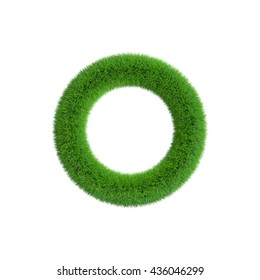 Grass frame in form of circle. Isolated on white background.3D rendering illustration.