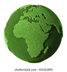 Grass Globe - Africa, isolated on white background. 3d render