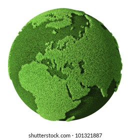 Grass Globe - Europe, isolated on white background. 3d render