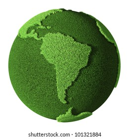 Grass Globe - South America, isolated on white background. 3d render