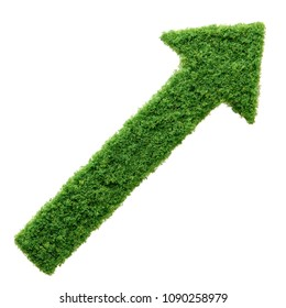Grass growing in the shape of an arrow, symbolising the care and dedication needed for progress, success and profit in business.
