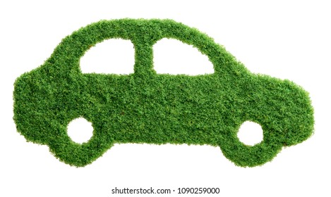 Grass growing in the shape of a car, symbolising the need to invest in alternative fuel solutions for transportation.