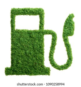 Grass growing in the shape of a gas station, symbolising the need to invest in alternative fuel solutions for transportation.