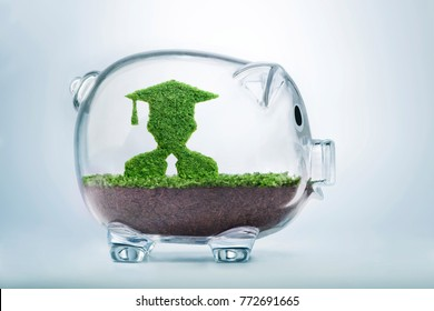 Grass growing in the shape of a graduate student, inside a transparent piggy bank, symbolising the care, dedication and investment needed for quality education.