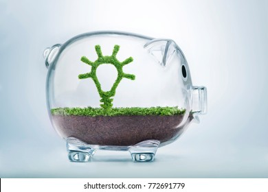 Grass growing in the shape of a light bulb, inside a transparent piggy bank, symbolising the care, dedication and investment needed for quality ideas.