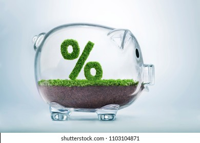 Grass growing in the shape of the percentage symbol, inside a transparent piggy bank.