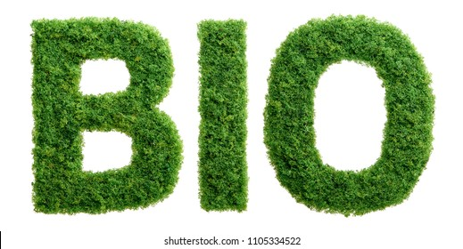 Grass growing in the shape of the word BIO isolated.