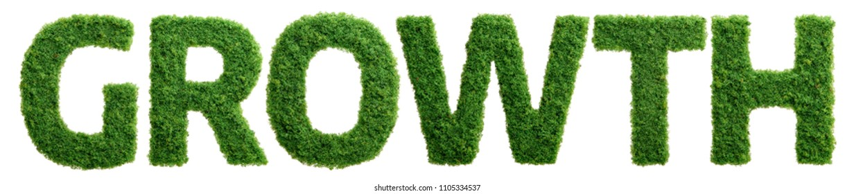 Grass growing in the shape of the word growth isolated.
