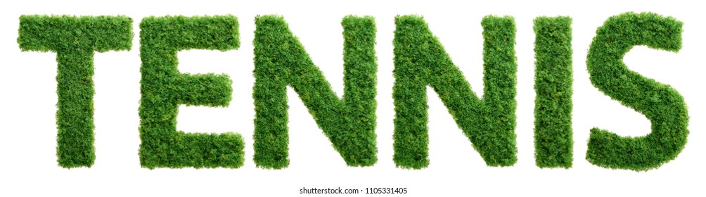 Grass growing in the shape of the word tennis isolated.