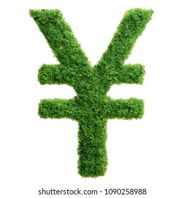 Grass growing in the shape of yen symbol. Clean eco friendly economy.