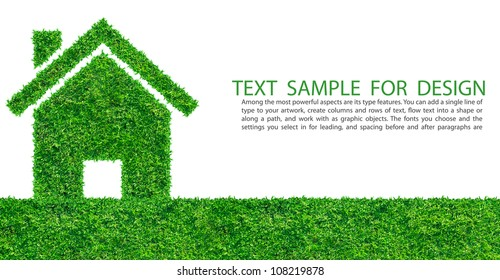 Grass home icon from grass background, isolated on white