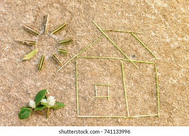 Grass house on the ground, Dream house success concept