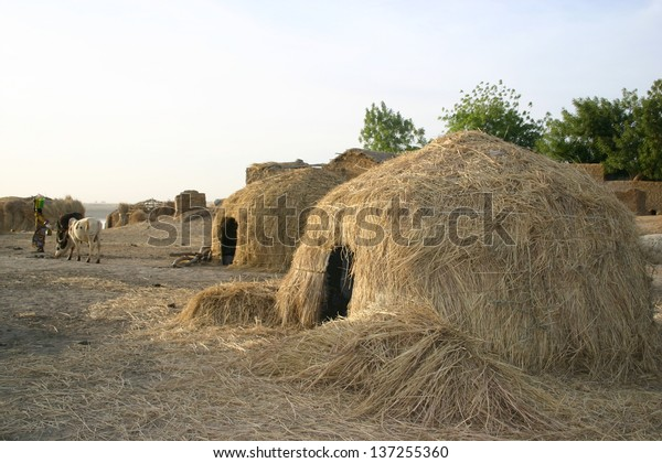 Grass huts of nomad Fulani people are a common sight in Mali, west Africa