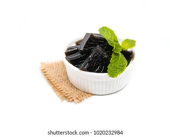 Grass jelly (Mesona chinensis), vegetable jelly on isolate white background
