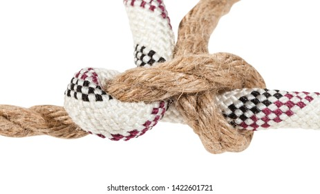 grass knot joining two ropes close up isolated on white background