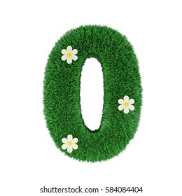 grass letter 0 isolated on white. 3d rendering