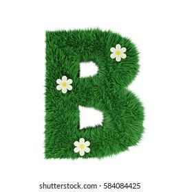 grass letter B isolated on white. 3d rendering