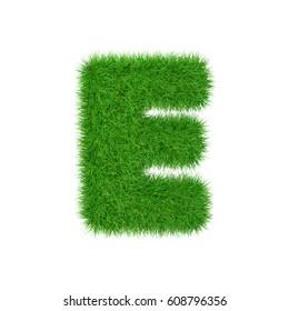 Grass letter E isolated on white, 3d illustration