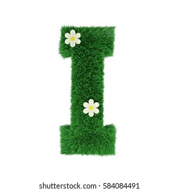 grass letter I isolated on white. 3d rendering