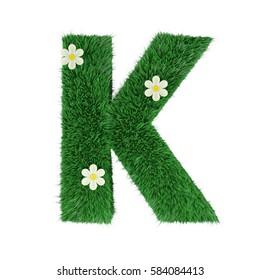 grass letter K isolated on white. 3d rendering