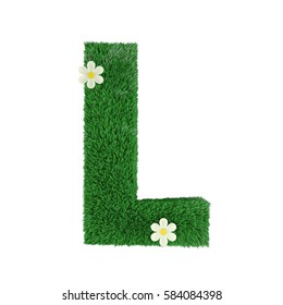 grass letter L isolated on white. 3d rendering
