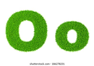 Grass letter O - ecology eco friendly concept character type