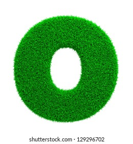 Grass Letter O Isolated on White Background.